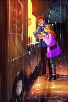 Фото Девушка и парень под дождем едят еду из фургона, by Yaoyao Ma Van As