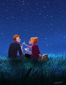 Конкурсная работа Девушка и парень ужинают под звездным небом, by Yaoyao Ma Van As