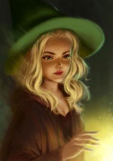 Фото Девушка-ведьма колдует, by kittypinkart