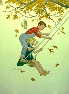 Фото Мальчик с девочкой на качели, подвешенной к ветке осеннего дерева, художник-иллюстратор Артур Сарнофф