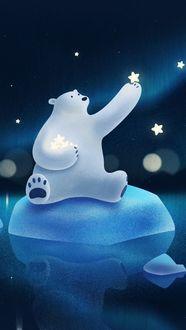 Фото Белый медведь сидя на льдине собирает с неба звезды, by Guihuahuzi