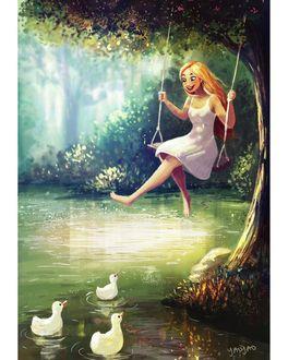 Фото Девушка на качели над водой, где плавают утята, by Yaoyao Ma Van As