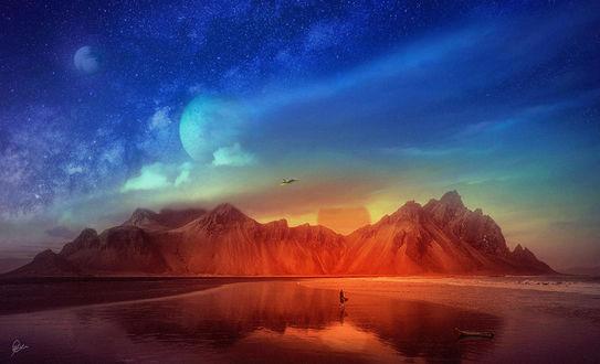 Фото Фантастический вид неба над горами и девушка, стоящая на воде, by MoodyBlue