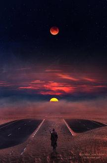 Фото Мужчина стоит на фоне заката солнца и луны на небе, by Ellysiumn