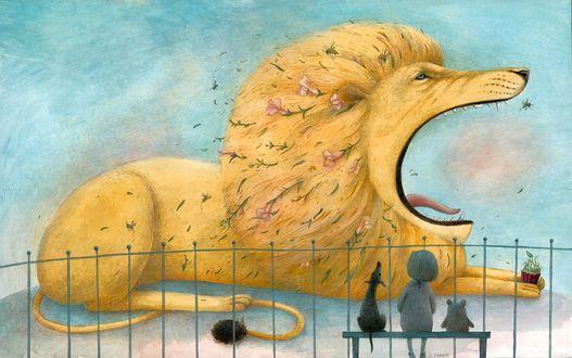 Фото Девочка со щенком и маленьким животным сидят на лавочке и смотрят на зевающего льва, by Lina DudaitД—