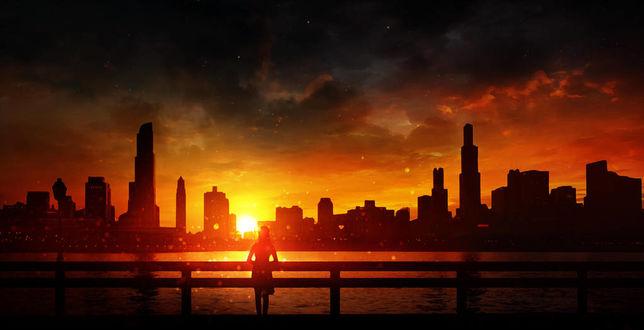 Фото Девушка стоит на фоне города во время заката солнца, by Bunny7766