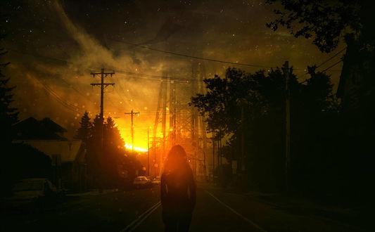 Фото Девушка стоит на дороге на фоне заката солнца, by Bunny7766