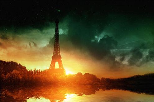 Фото Eiffel Tower / Эйфелева башня на фоне заката, by Bunny7766