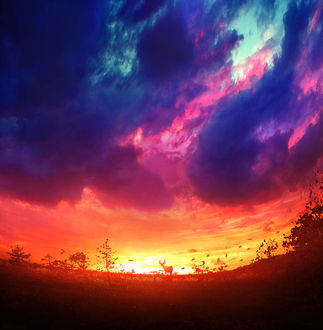 Фото Олень на фоне розово-голубого неба на закате, by Bunny7766