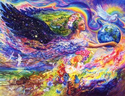 Фото Девушка с крыльями, в венке из цветов на голове, парит в небе, by Josephine Wall / Жозефина Уолл