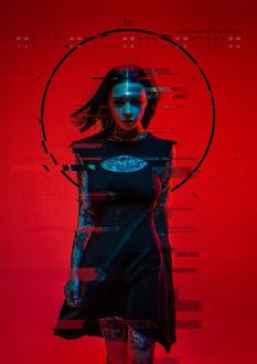 Фото Косплей-модель Anna Batman в образе Neon Witch / Неоновой Ведьмы из одноименного проекта, Календарь- June / Июнь 2019 by Aku