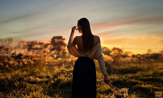 Фото Девушка стоит на фоне заката к нам спиной. Фотограф Томашев Сергей