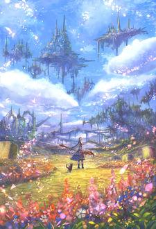 Фото Девушка с котом идут по лугу, над которым на островах парят города, art by Sakimori