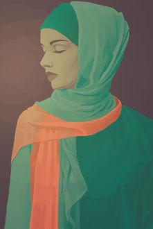 Фото Грустная девушка - мусульманка с покрытой головой, by Eldarianne