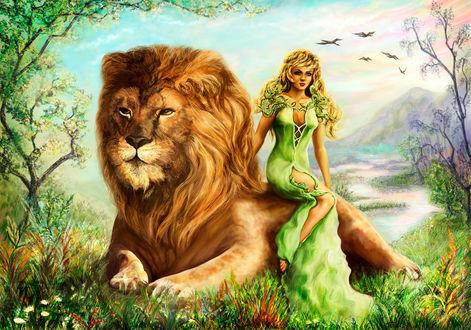 Фото Девушка сидит на льве, by Vilenchik