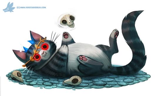 Фото Кот с красными глазами играет с черепами, by Cryptid-Creations