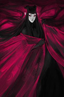 Фото Демоница в красном одеянии, art by exellero