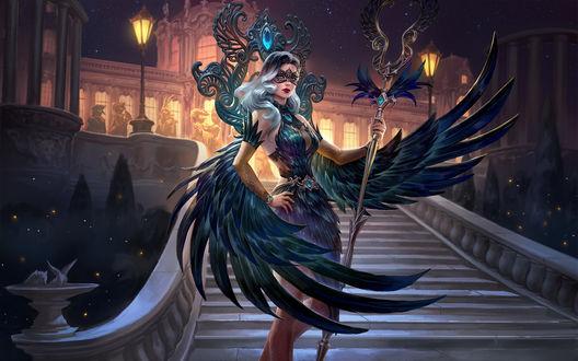 Фото Девушка с крыльями ворона с посохом в руке, by Scebiqu