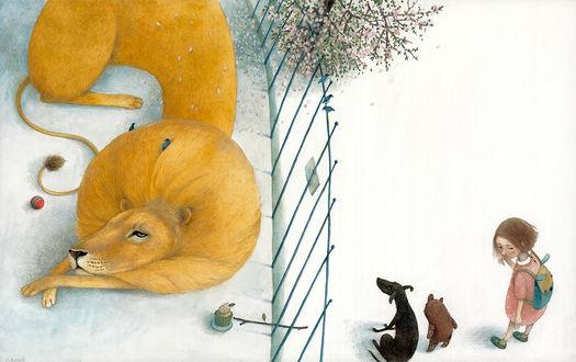 Фото Девочка со щенком и маленьким животным смотрят на льва за клеткой, by Lina Dudaite