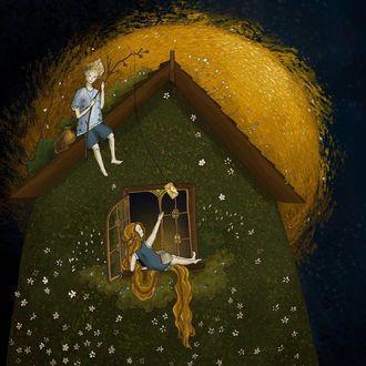 Фото Мальчик, сидящий на крыше, опустил девочке в окне конвертик, by igni_art