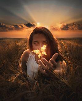 Фото Девушка сидит в траве со светящейся бабочкой над рукой, by volodymyr_stus