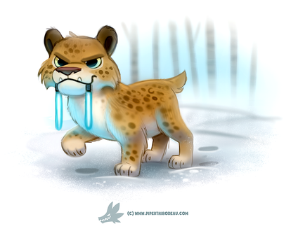 Фото Дикая кошка с неоновыми зубами на снегу, by Cryptid-Creations