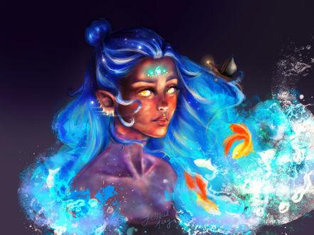 Фото Девушка со светящимися глазами и голубыми волосами в виде волн смотрит на рыбок перед собой, by Sabah H