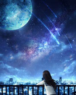Фото Девушка в школьной форме смотрит на города под ночным небом с планетами, by CZY