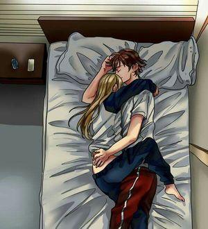 Фото Парень с девушкой спят на кровати, сериал Hakata Tonkotsu Ramens