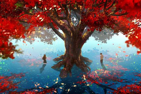 Фото Парень и девушка стоят в воде по разные стороны дерева, by, watermother Jian