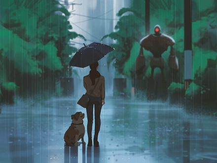 Фото Девушка с зонтом и собака рядом под дождем стоит на дороге, by snatti89