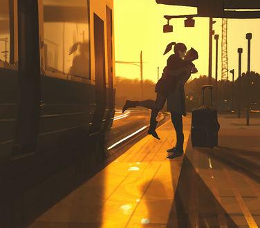 Фото Парень держит девушку на руках, встреча на вокзале, by Atey Ghailan- snatti89