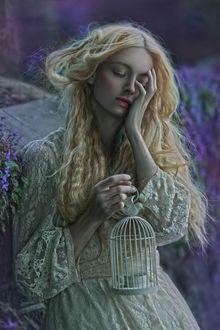 Фото Красивая девушка с клеткой в руке, by Agnieszka Lorek