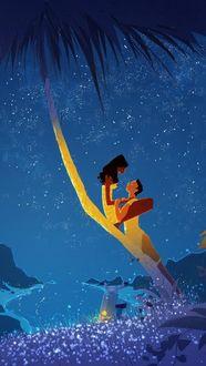 Фото Девушка сидит на пальме и парень обнимает ее ножки. Художник Паскаль Кэмпион / Pascal Campion