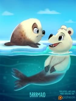 Фото Белый медведь-тюлень в воде смотрит на тюленя на льду (Brrrmaid), by Cryptid-Creations