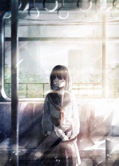 Фото Школьница дремлет, сидя в поезде