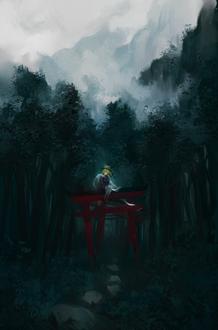 Фото Девушка сидит на вратах тории на фоне леса, art by FloreSuika
