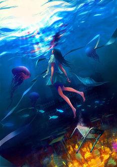 Фото Девушка с голубыми волосами под водой, by wataboku