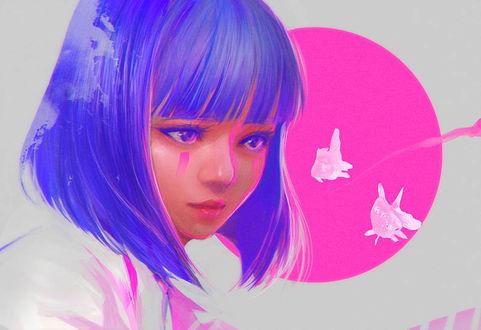 Фото Девушка с голубыми волосами и рыбки рядом, by wataboku