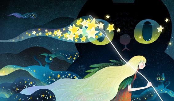 Фото Девушка с сачком, внутри которого звезды, и три кошки, by Little Oil