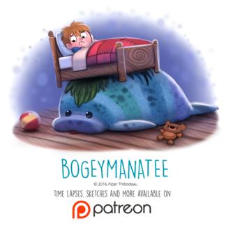 Фото Мальчик лежит в кровати, которая стоит на ламантине (Bogeymanatee), by Cryptid-Creations
