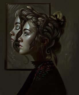 Фото Девушка со змеей на голове, by vurdeM