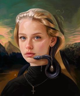 Фото Девушка со змеей у лица, by vurdeM