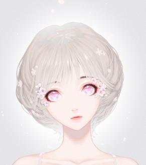 Фото Белокурая девушка с цветами сакуры возле глаз