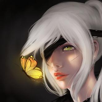 Фото Девушка с повязкой на глазе с бабочкой перед лицом, by Ellumi