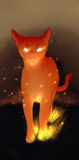 Фото Огненный рисованный кот, by Nmirah
