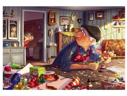 Фото Девочка подглядывает за дедушкой, который готовит подарки, by Yaoyao Ma Van As