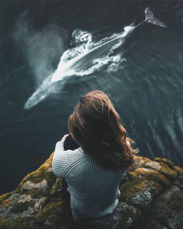 Фото Девушка смотрит на кита в воде, by Aditya Putra Leksono