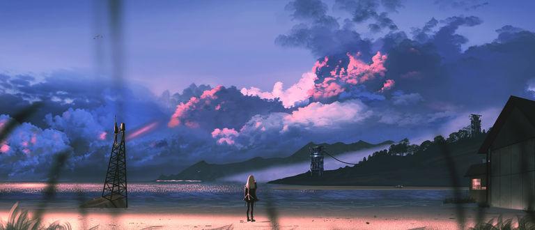 Фото Девочка стоит на фоне природы, by H- 042