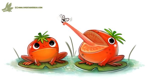 Фото Две томатных лягушек на черешках листьев кувшинок, by Cryptid-Creations